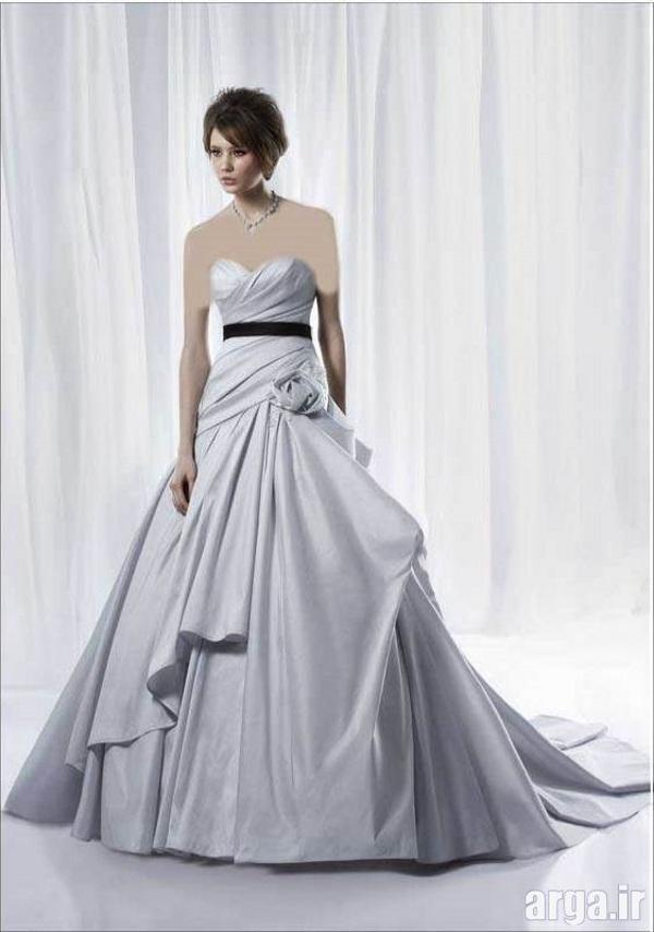 لباس عروس نقره ای زیبا