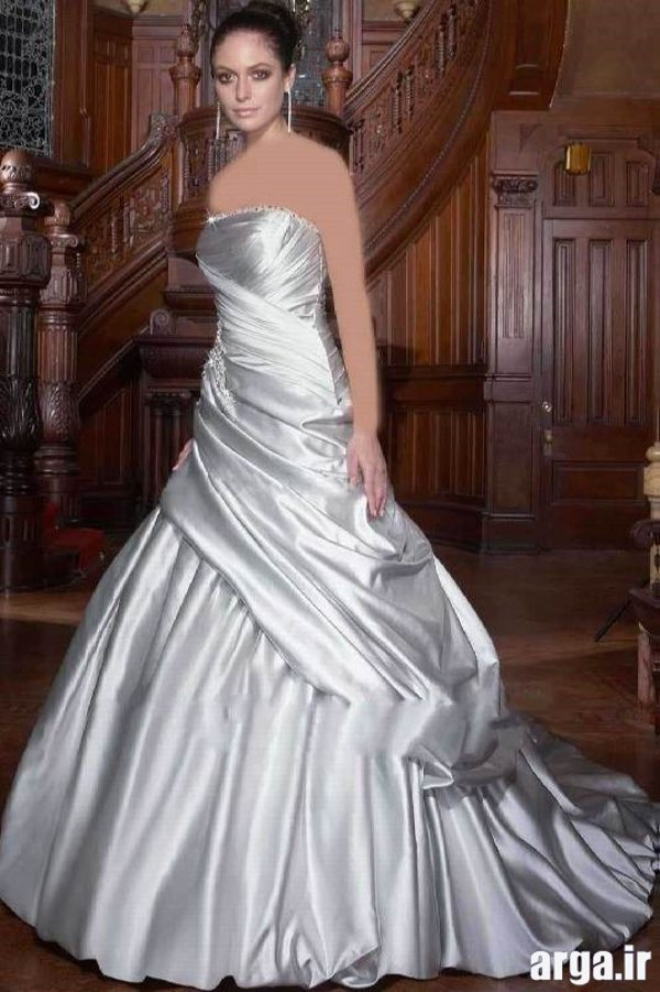 لباس عروس جذاب نقره ای