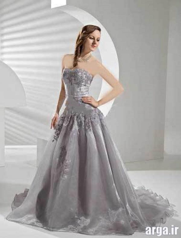 لباس عروس زیبا نقره ای