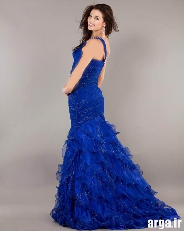 لباس مجلسی آبی زیبا مدل دنباله دار