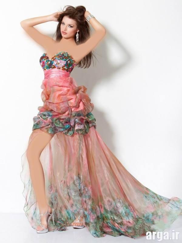 لباس مجلسی هفت رنگ دنباله دار