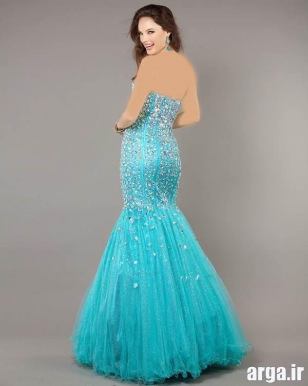 مدل لباس مجلسی آبی آسمانی زیبا