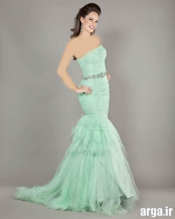 مدل لباس مجلسی سبز آبی شیک
