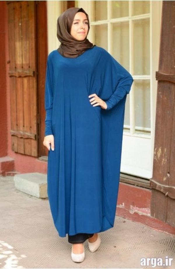 مانتو به رنگ آبی زیبا برای افراد چاق