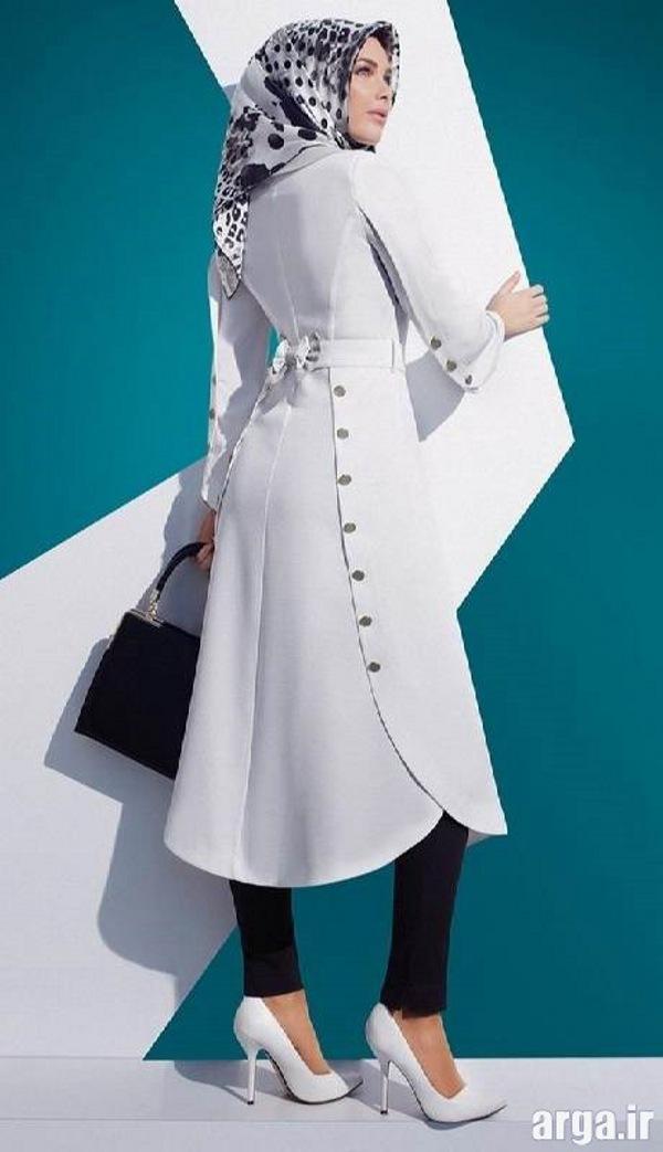مدل مانتو سفید زیبا و باکلاس