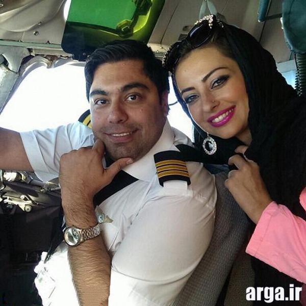 نفیسه و همسرش در هواپیما