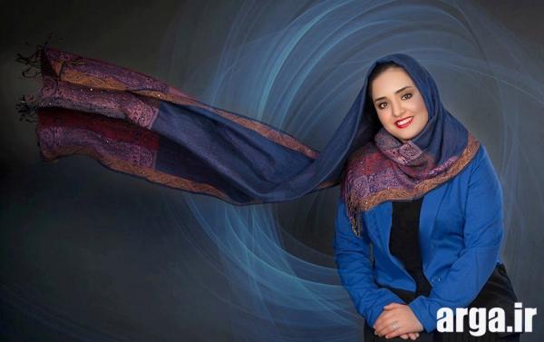 عکس های نرگس محمدی با شال صورمه ای