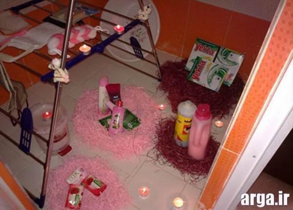 چیدمان وسایل حمام عروس