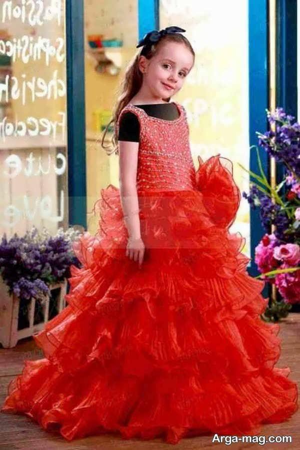 لباس عروسی رنگی با طرح شیک