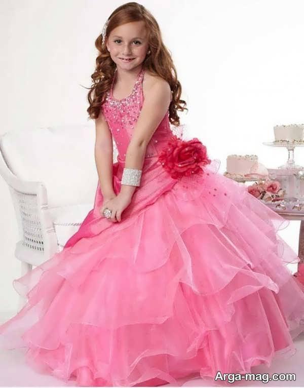 لباس عروسی رنگی با طرح زیبا