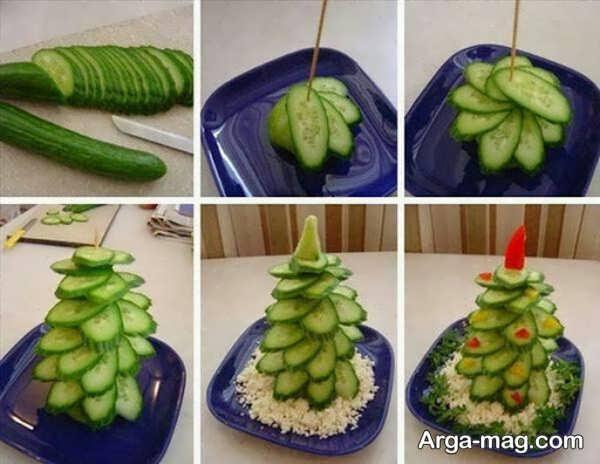 ایده قشنگ برای میوه آرایی خیار
