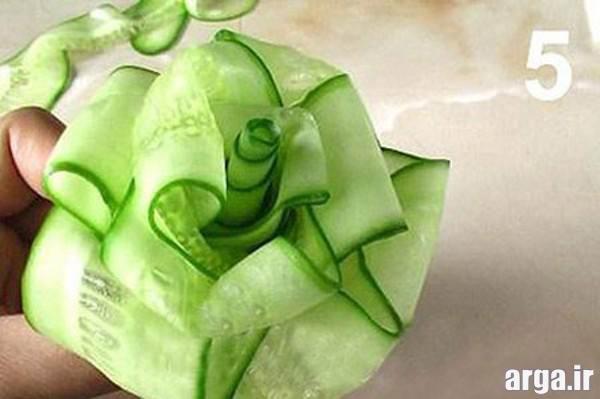 تزیین خیار به شکل گل رز