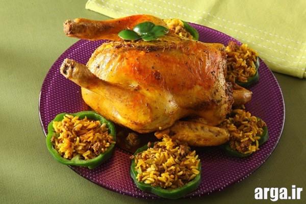تزیین مرغ و پلو