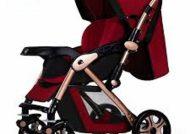 کالسکه های قرمز طرح دار برای نوزاد