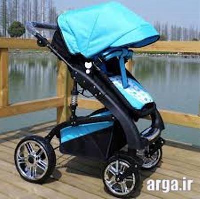 کالسکه آبی مشکی نوزاد