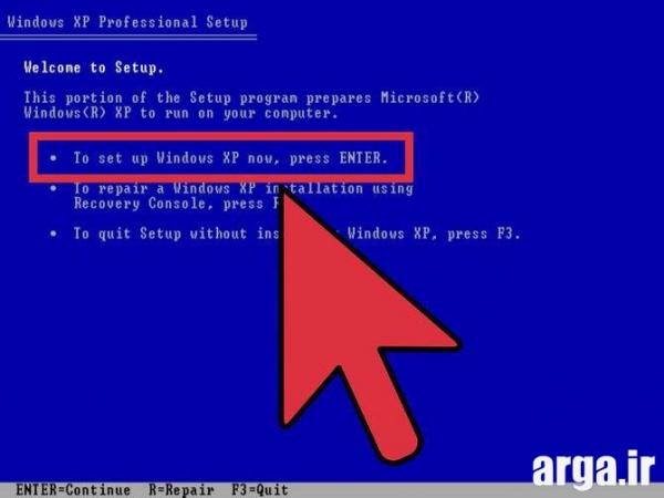 مرحله چهارم نصب ویندوز xp