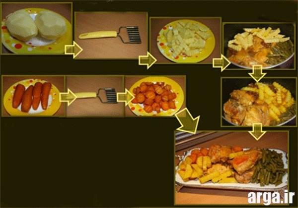 خوراک مرغ با لوبیا سبز