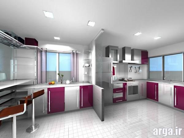 آشپزخانه سفید و صورتی