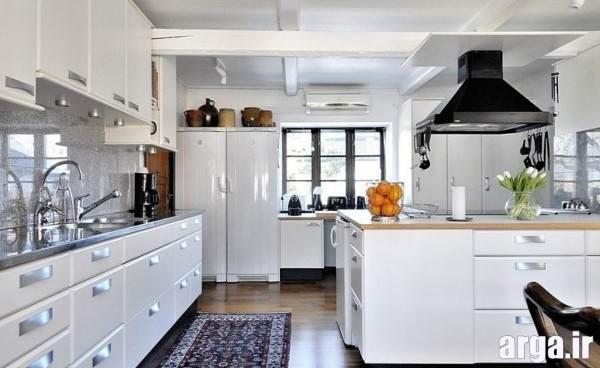 دکوراسیون آشپزخانه سفید مدرن