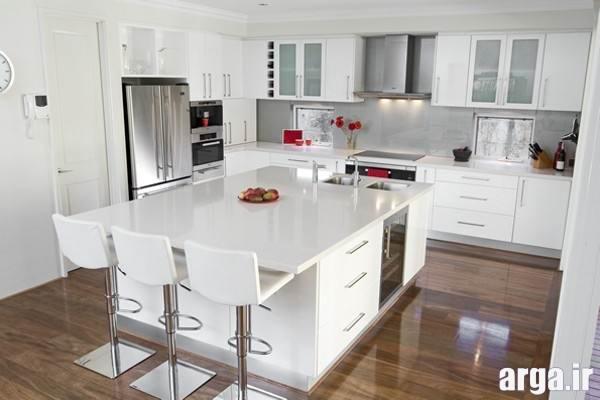چیدمان آشپزخانه سفید