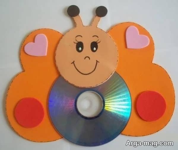 خلاقیت با سی دی به شکل پروانه