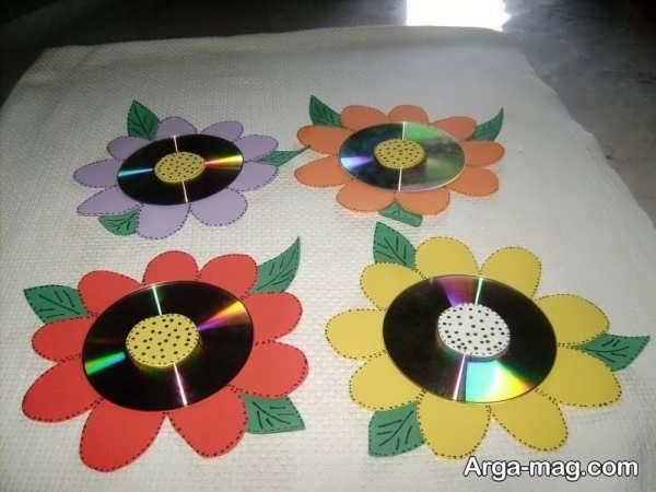 خلاقیت با سی دی به شکل گل