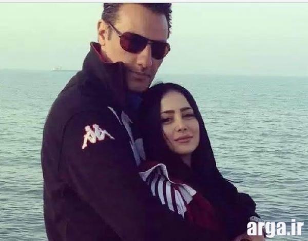 الناز حبیبی و همسرش کنار دریا