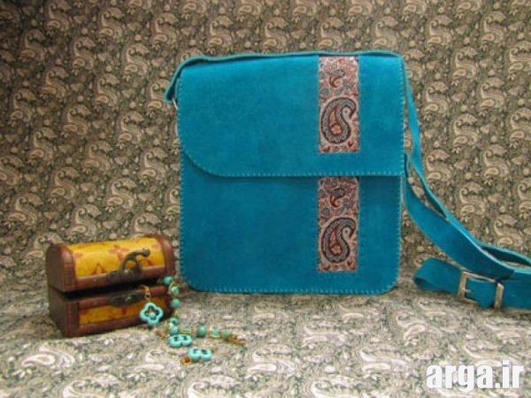 کیف چرم زیبا دست دوز