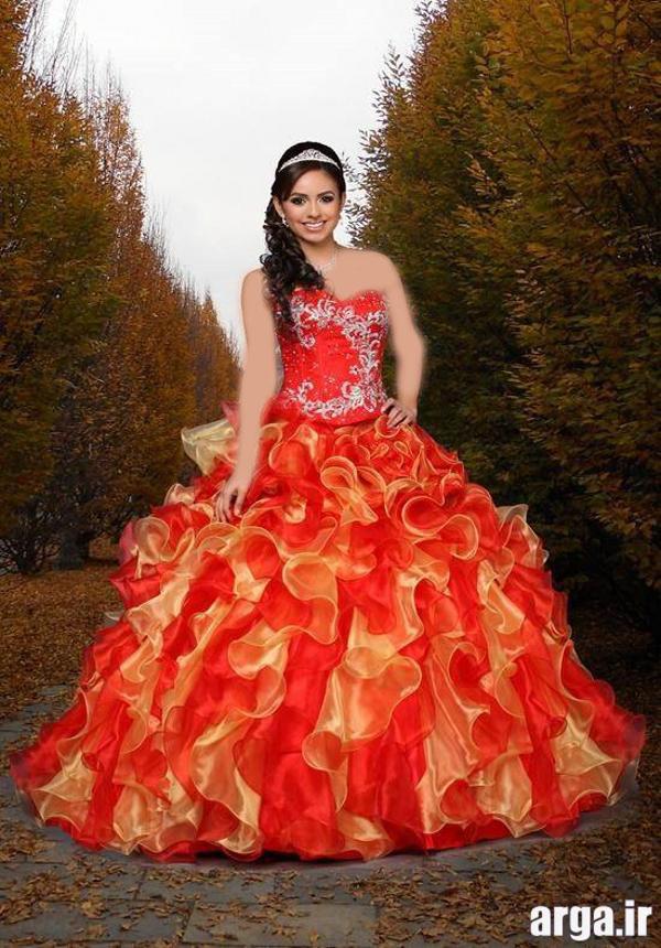 لباس عروس رنگی جدید