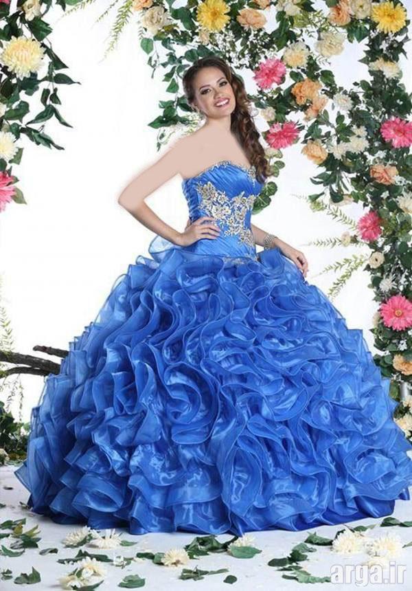 لباس عروس رنگی مدرن