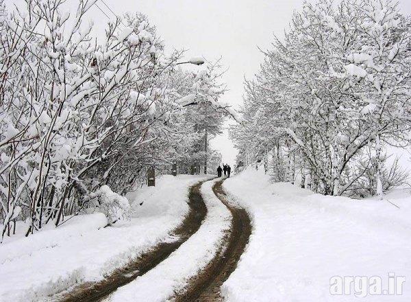 جاده رمانتیک در منظره برفی