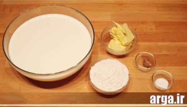 مواد لازم در طرز تهیه سس سفید لازانیا
