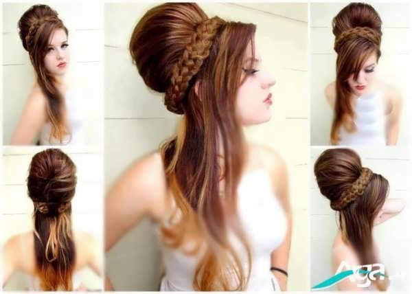 مدل آرایش مو عروس مراه با بافت مو