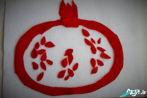 کاردستی میوه ها برای مهد کاردستی انار