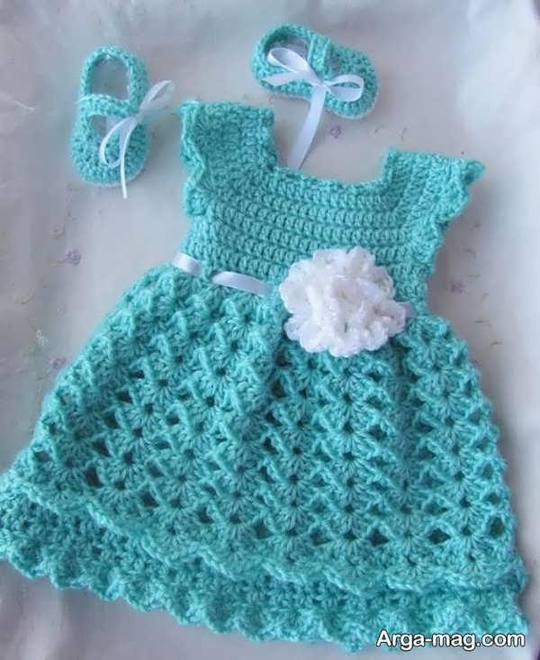 لباس قلاب بافی آبی بچگانه