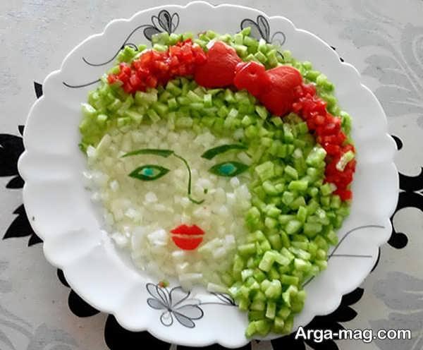 انواع تزیینات سالاد شیرازی برای کودکان