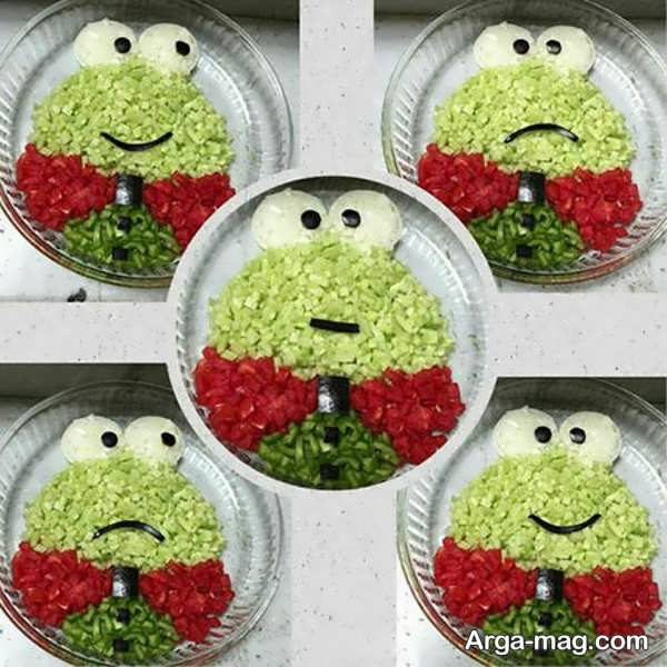تزیینات بامزه سالاد شیرازی برای کودکان