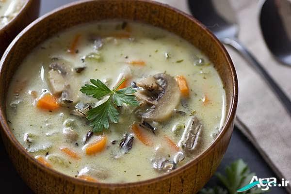 سوپ جو با قارچ