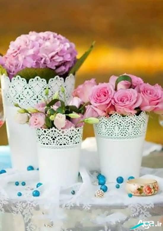 تزیین گلدان با تور