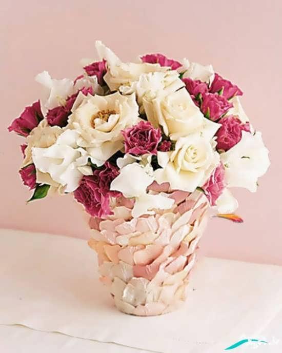 تزیین روی گلدان ساده
