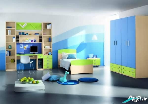 دکوراسیون آبی اتاق پسرانه