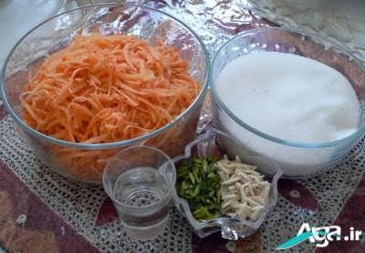 مواد لازم برای مربای هویج