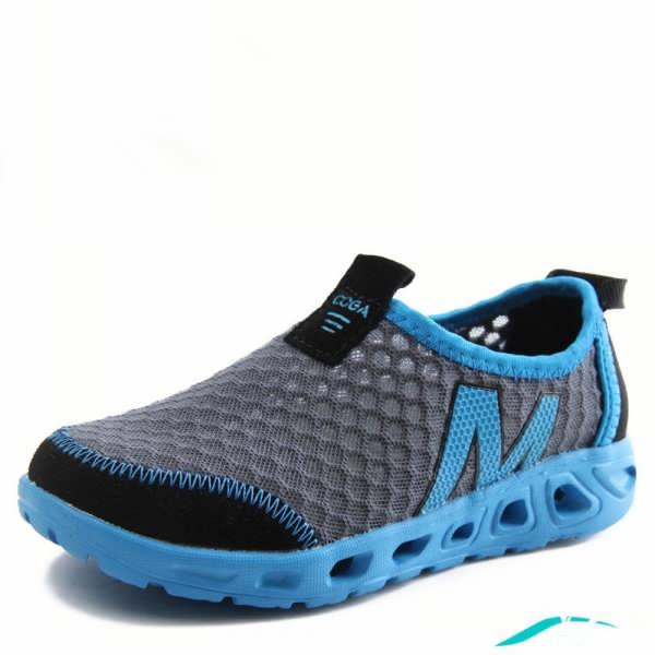 کفش اسپرت مردانه با دو رنگ آبی و خاکستری