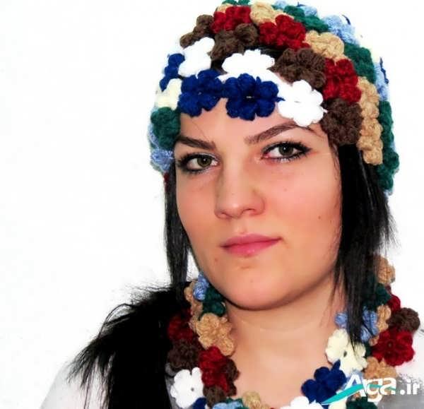 کلاه بافتنی دخترانه با طرح گل