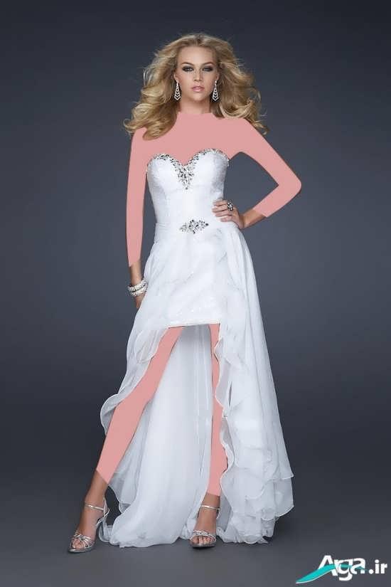 لباس عروس کوتاه دنباله دار