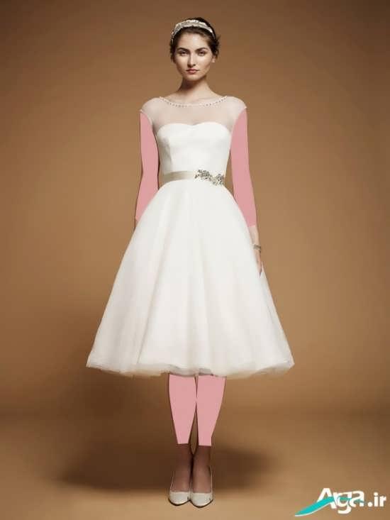 لباس عروس کوتاه با طحی ساده و جذاب