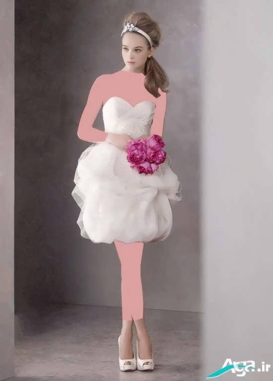 لباس عروس کوتاه و دکلته مدرن