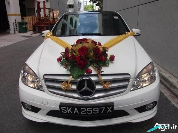 تزیین ماشین عروس با سبد گل