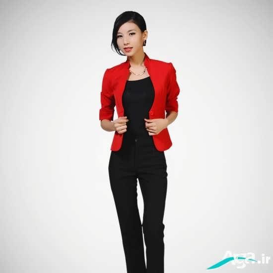 کت قرمز دخترانه با یقه ای مناسب