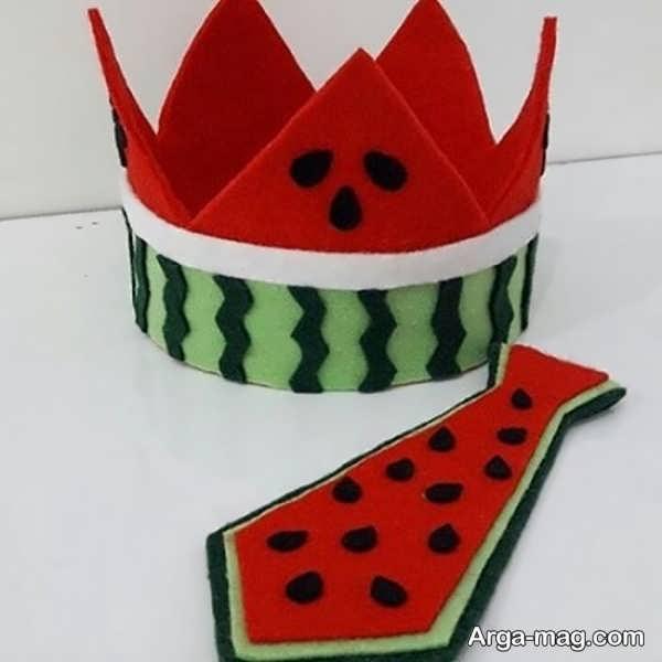 مدل ساخت میوه هندوانه با نمد